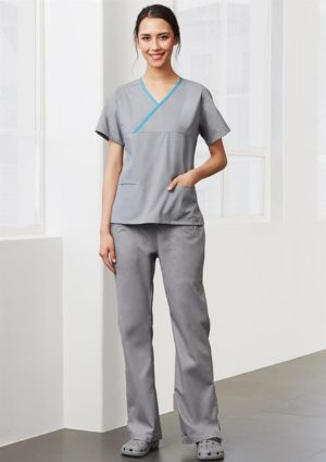 Ladies Contrast Crossover Scrubs Top worn