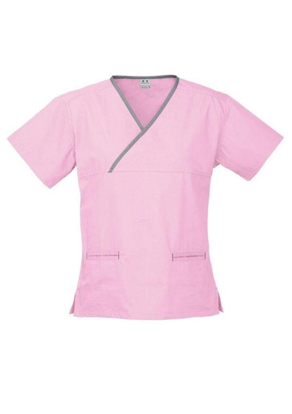 Ladies Contrast Crossover Scrubs Top worn