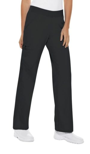 Pro Flexibles Mid-Rise Knit Waist Womens Scrubs Pant Black