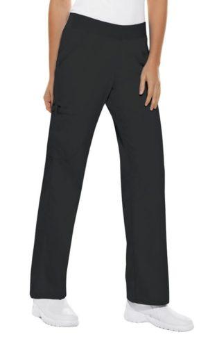 Pro Flexibles Mid-Rise Knit Waist Womens Scrubs Pant Black