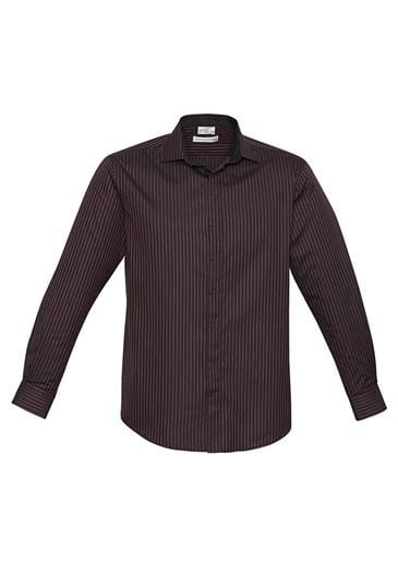 Mens Reno Stripe Long Sleeve Shirt Teal Blue