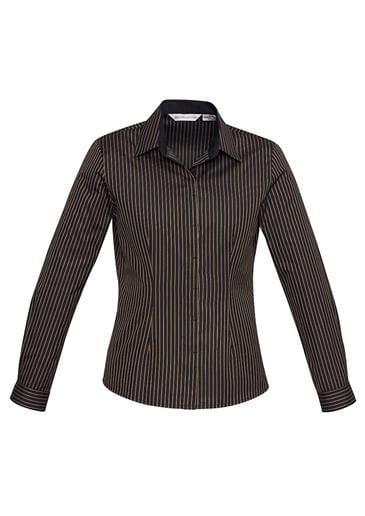 Ladies Reno Stripe Long Sleeve Shirt Teal Blue