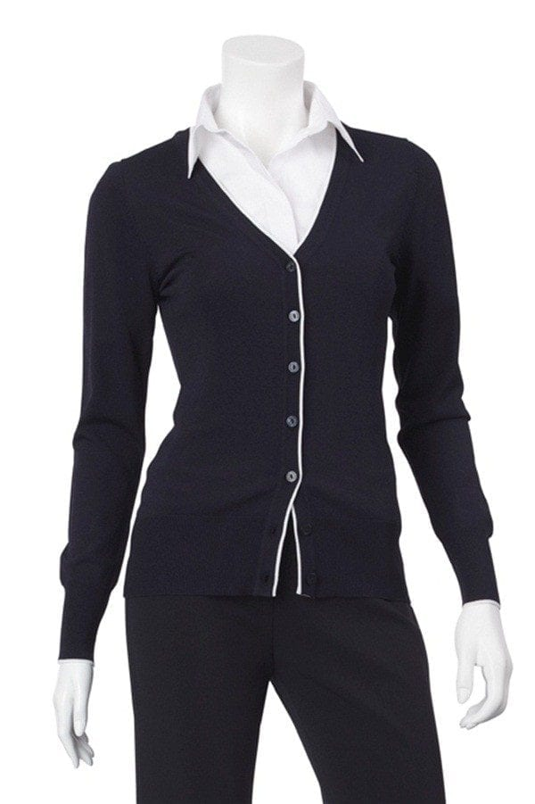 V-Neck Button Up Cardigan with Trim Worn