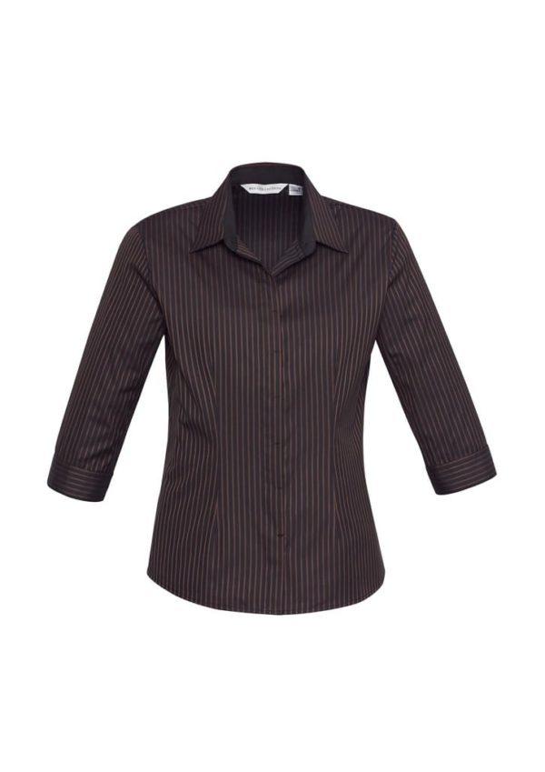 Ladies Reno Stripe 3/4 Sleeve Shirt Worn