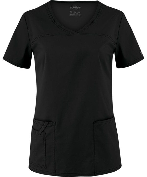 Premium Workwear V-neck Ladies Scrubs Top Black