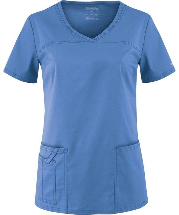 Premium Workwear V-neck Ladies Scrubs Top Ceil Blue