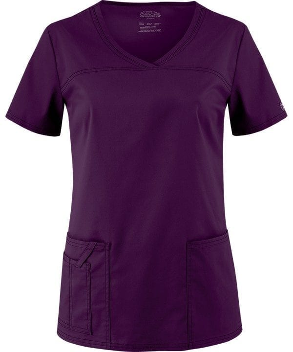 Premium Workwear V-neck Ladies Scrubs Top Eggplant