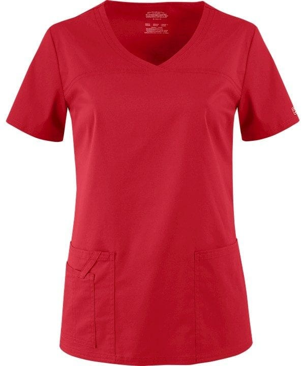 Premium Workwear V-neck Ladies Scrubs Top Red