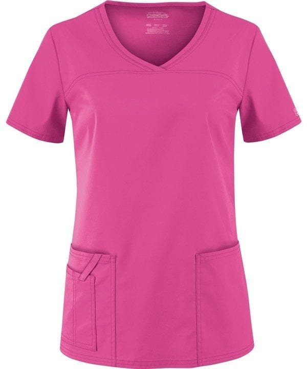 Premium Workwear V-neck Ladies Scrubs Top Shocking Pink