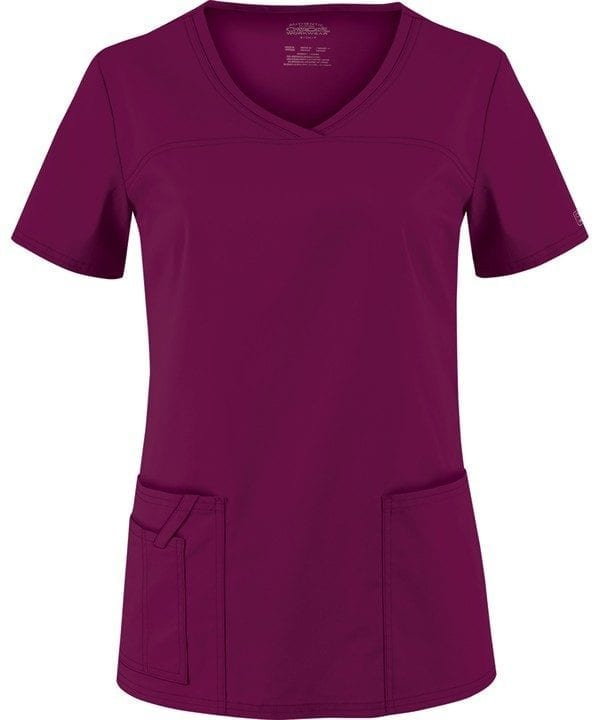 Premium Workwear V-neck Ladies Scrubs Top Wine