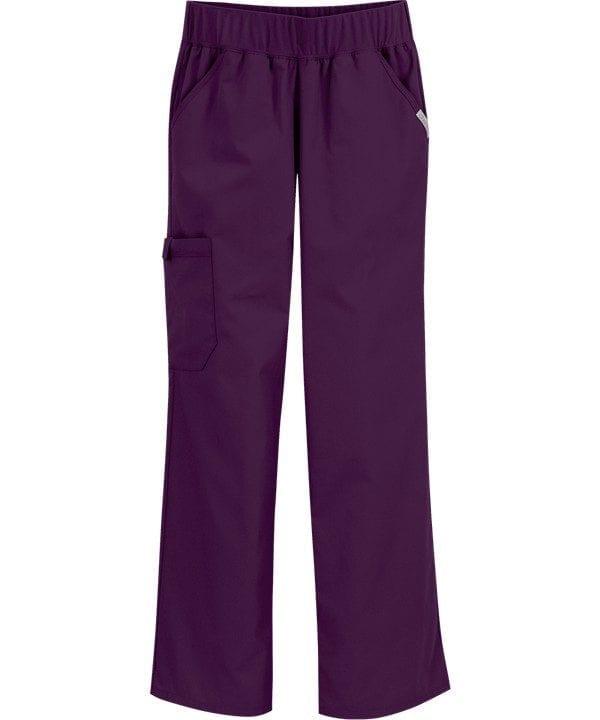 Pro Flexibles Mid-Rise Knit Waist Womens Scrubs Pant Eggplant