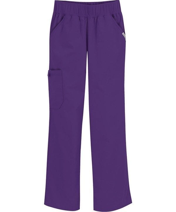 Pro Flexibles Mid-Rise Knit Waist Womens Scrubs Pant Grape
