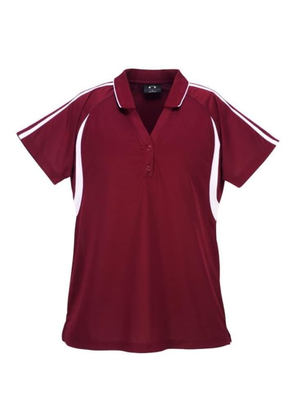Flash Unisex Polo Maroon/White