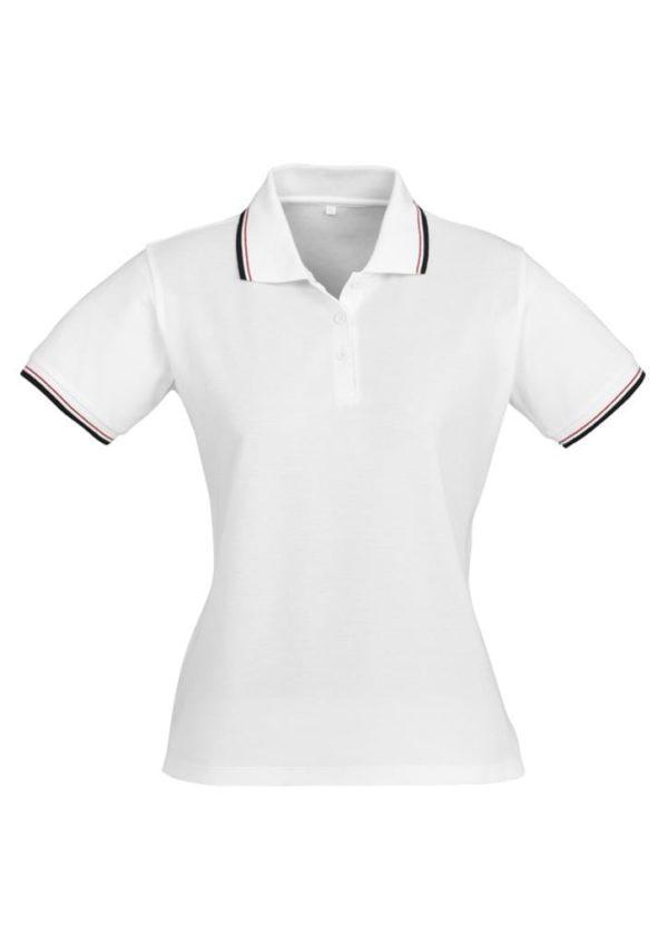 Cambridge Ladies Polo White/Black/Red