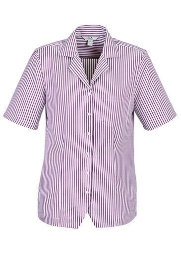 Ladies Striped Oasis Shirt White/grape