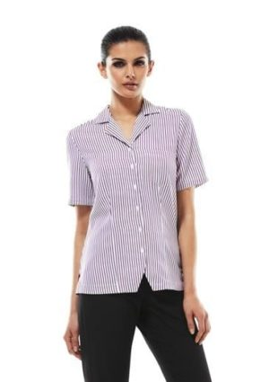Ladies Striped Oasis Shirt White/grape