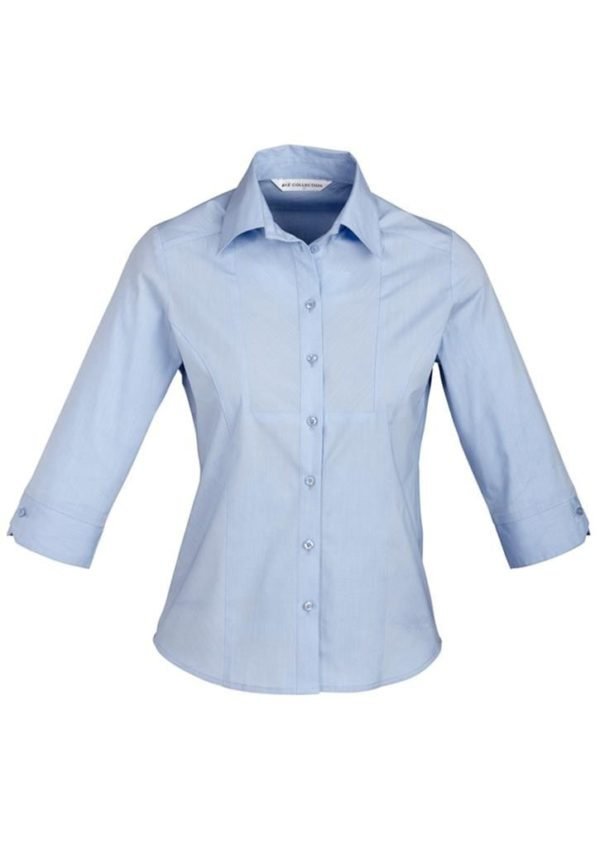 Chevron Ladies 3/4 Sleeve Shirt Blue