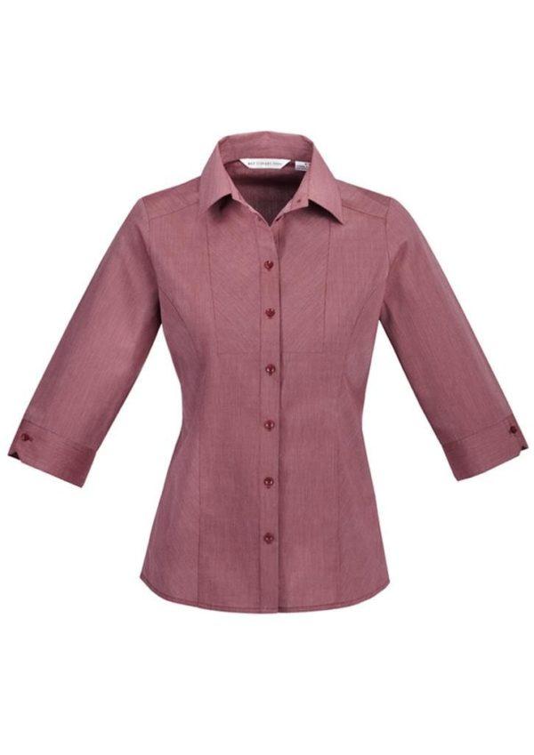 Chevron Ladies 3/4 Sleeve Shirt Blue