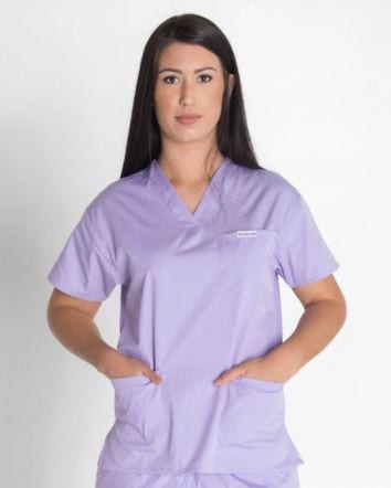 4 pocket Ladies scrub top Lilac