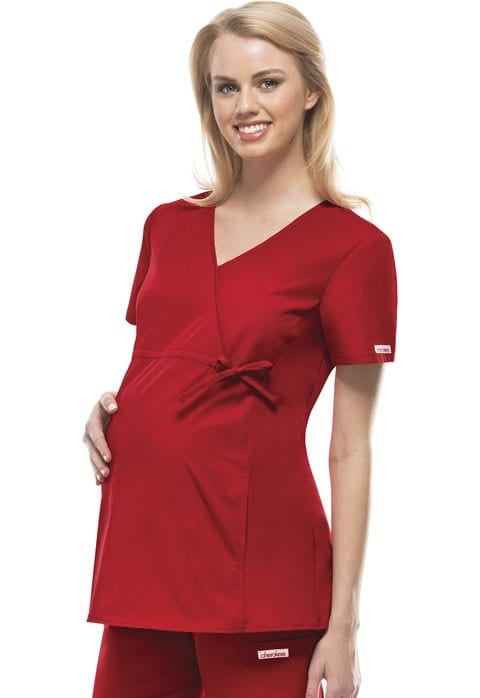 Maternity Scrub Top Red