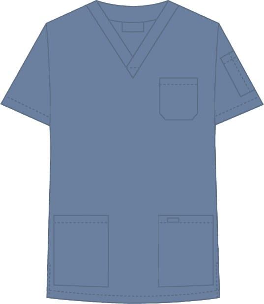 V-Neck Unisex Scrub Top Postman Blue