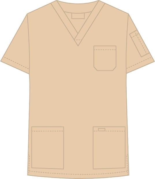 V-Neck Unisex Scrub Top Khaki