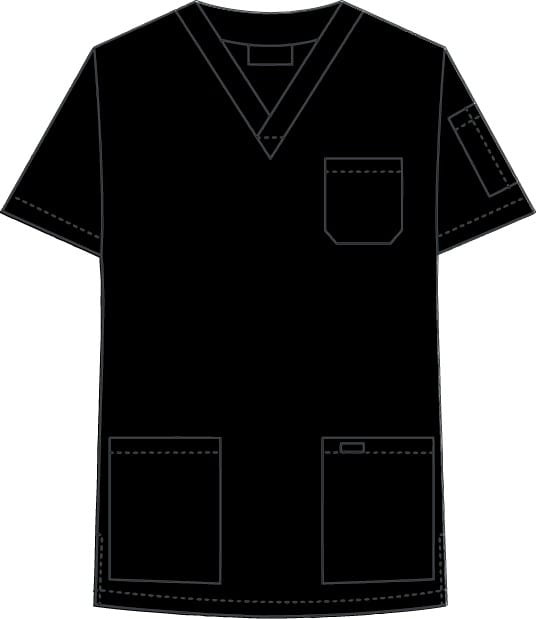 V-Neck Unisex Scrub Top Black