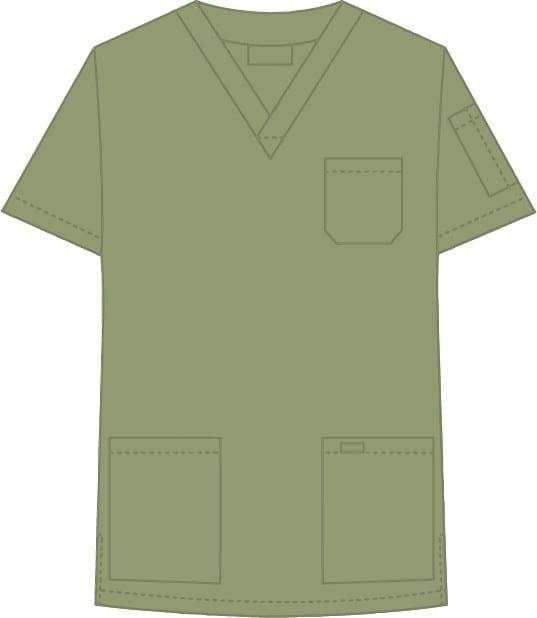 V-Neck Unisex Scrub Top Olive Green