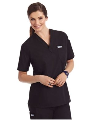 V-Neck Unisex Scrub Top Black