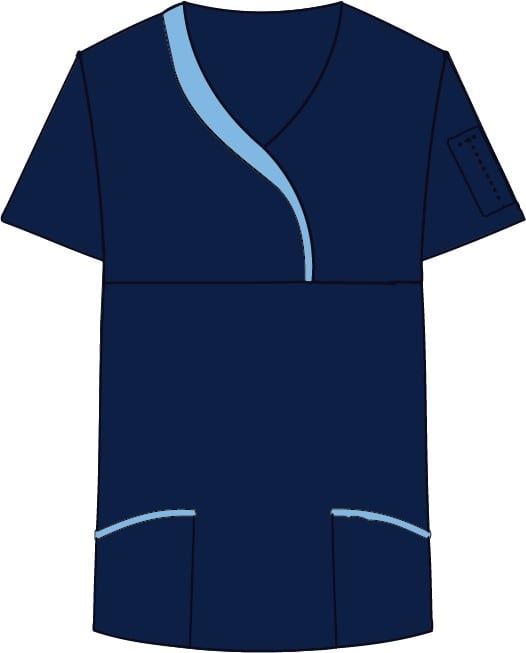 Ladies Sculpted Scrub Top Navy
