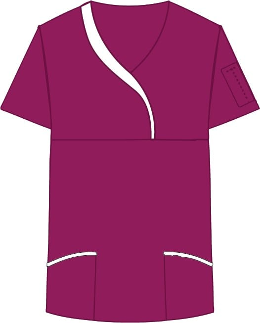Ladies Sculpted Scrub Top Deep Orchid