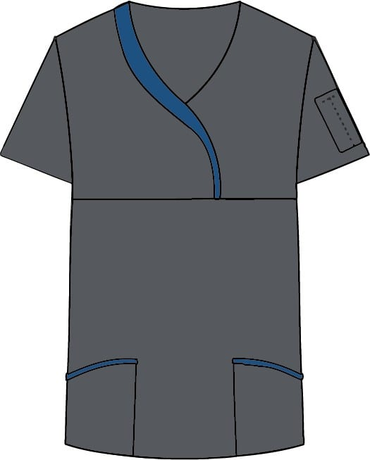 Ladies Sculpted Scrub Top Charcoal
