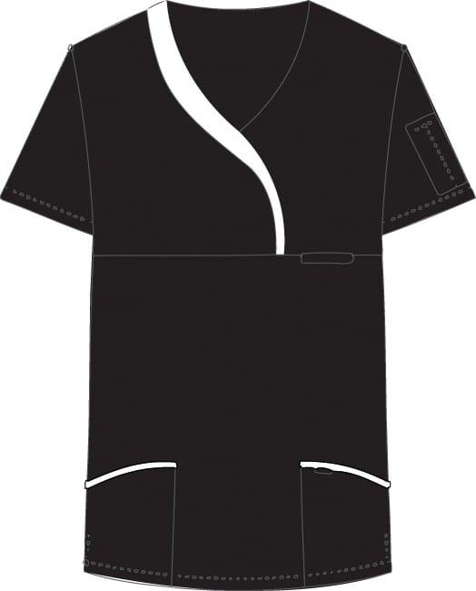 Ladies Sculpted Scrub Top Black