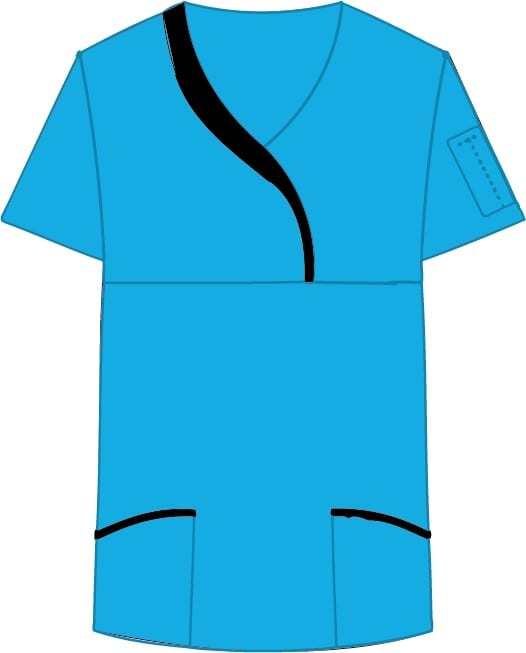 Ladies Sculpted Scrub Top Aqua