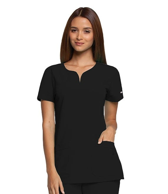 Ladies Yoke Neck Scrub Top Black