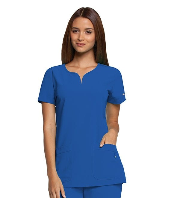 Ladies Yoke Neck Scrub Top New Royal