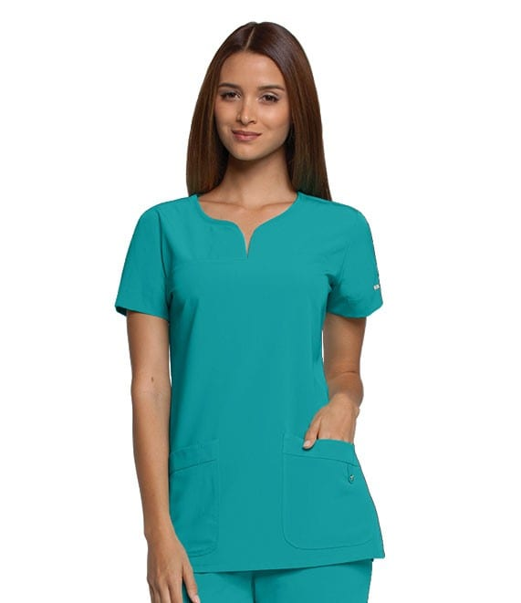 Ladies Yoke Neck Scrub Top Lagoon