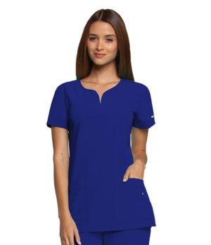 Ladies Yoke Neck Scrub Top Electric