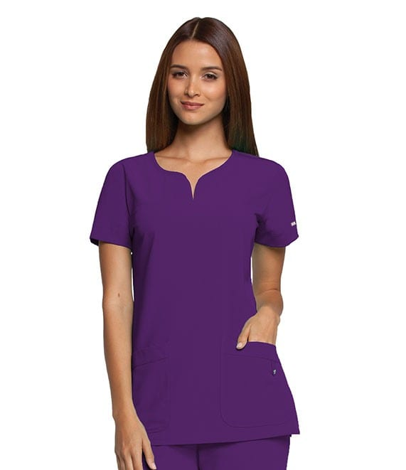 Ladies Yoke Neck Scrub Top Dewberry