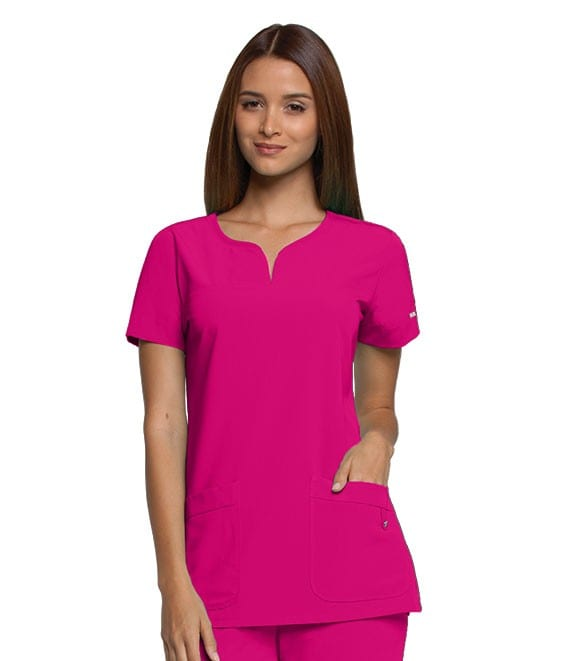 Ladies Yoke Neck Scrub Top Begonia