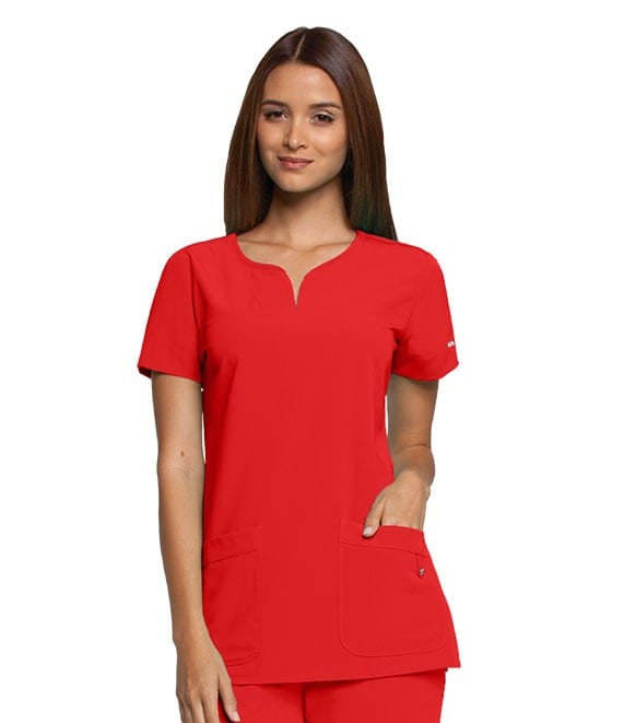 Ladies Yoke Neck Scrub Top Poppy