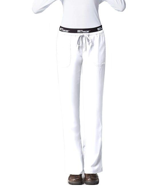 3 Pocket Logo Waistband Scrub Pant White
