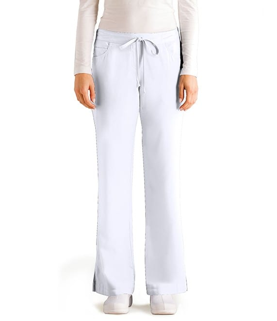 5 Pocket Drawstring Scrub Pant White