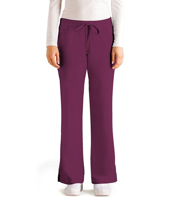 5 Pocket Drawstring Scrub Pant Wine