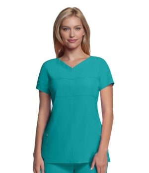 Ladies V-Neck 2 Pocket Scrub Top Lagoon