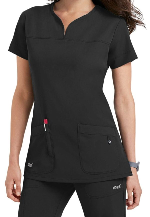Ladies Yoke Neck Scrub Top Graphite