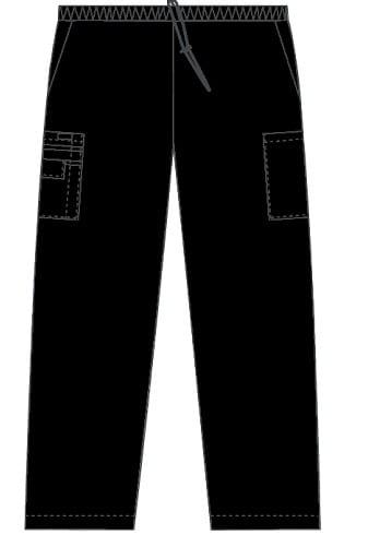 Unisex drawstring 5 pocket scrub pant Black