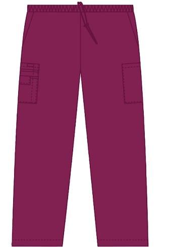 Unisex drawstring 5 pocket scrub pant Burgundy