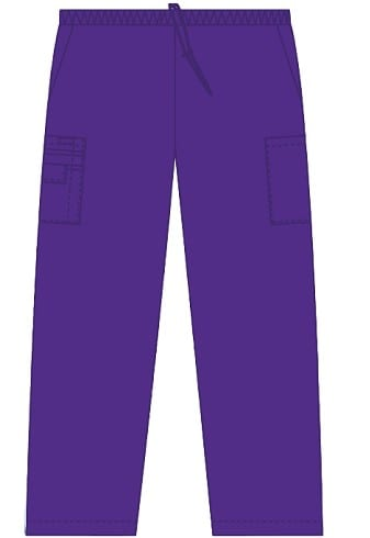 Unisex drawstring 5 pocket scrub pant eggplant