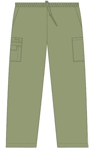 Unisex drawstring 5 pocket scrub pant olive